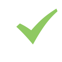 White box with green checkmark